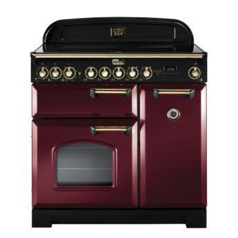 Falcon Range Cooker, Classic Deluxe 90, Glaskeramikkochfeld, Cranberry, Rot, Standherd, Landhausherd