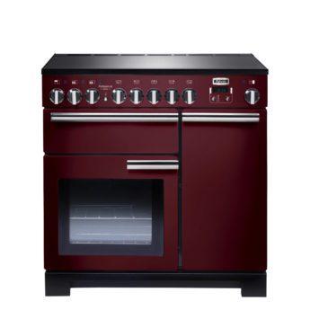 Falcon Range Cooker, Professional Deluxe 90, Induktions-kochfeld, cranberry, rot, Standherd, Landhausherd
