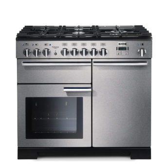 Falcon Range Cooker, Professional Deluxe 100, Gas-kochfeld, stainless steel, stahl, grau, Standherd, Landhausherd