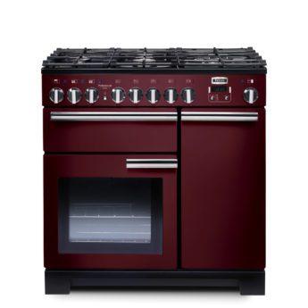 Falcon Range Cooker, Professional Deluxe 90, Gas-kochfeld, cranberry, rot, Standherd, Landhausherd